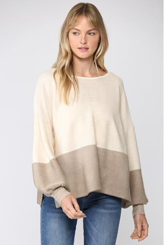 Oatmeal Colorblock Pullover OATMEAL