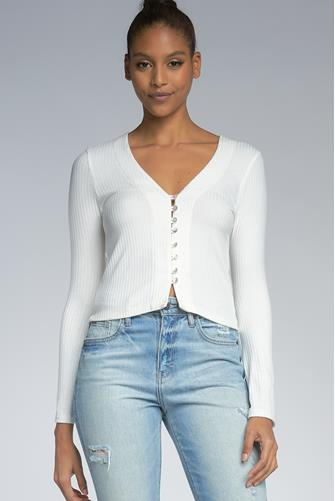 V-Neck Button Front Ribbed Top IVORY