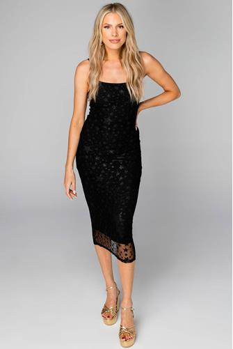 Madison Twinkle Star Slip Dress BLACK