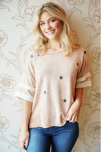 Stripe Sleeve Star Boxy Tee PINK