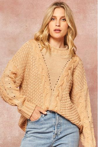 Cable Stitch Mock Neck Pullover CAMEL