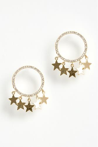 Mini Cubic Zirconia Circle Star Earrings GOLD