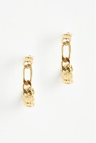 Gold Figaro Chain Hoop Earrings GOLD
