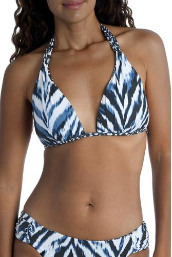 Animal Instinct Halter Triangle Reversible Bikini Top BLUE MULTI -