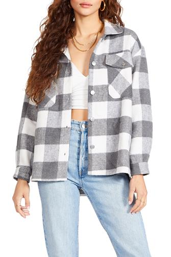 Buffalo Plaid Shirt Jacket GREY