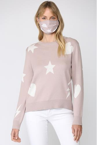 Multi Icon Print Pullover & Face Mask Set LITE PINK