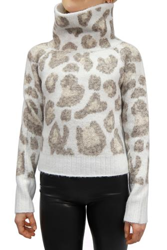 Leopard Print Mock Neck Sweater TAN