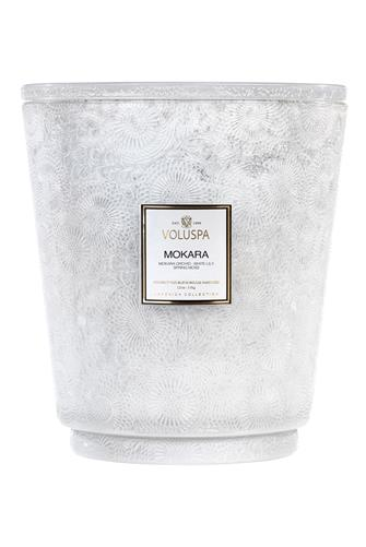 Mokara 5 Wick Hearth Candle 123 oz. WHITE