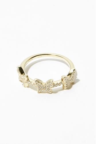 Pave Triple Butterfly Ring GOLD