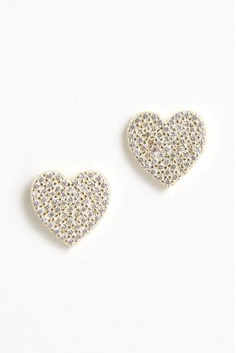 Pave Large Heart Stud Earrings GOLD