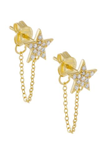 Pave Star Chain Stud Earrings GOLD
