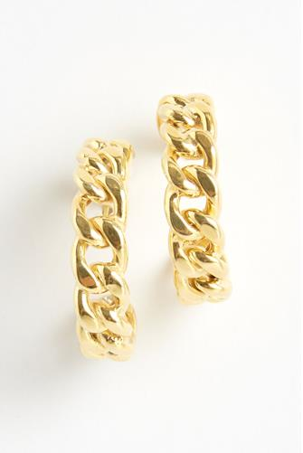 Chunky Cuban Chain Hoop Earrings GOLD
