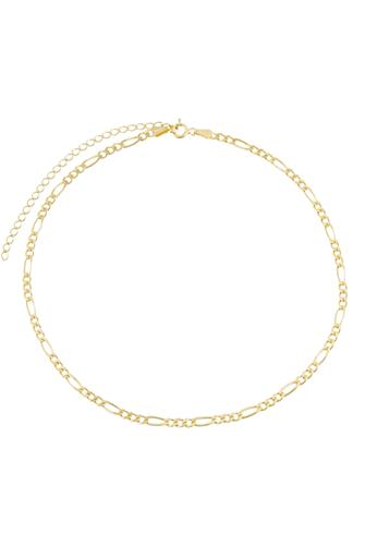 Gold Figaro Chain Choker Necklace GOLD