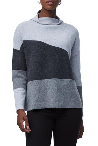 Sophia Knit High Neck Color Block Sweater GREY