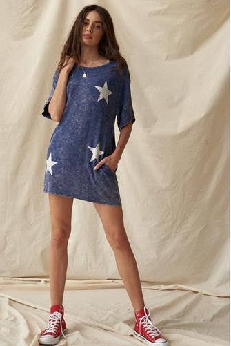 Star Short Sleeve T-Shirt Dress BLUE