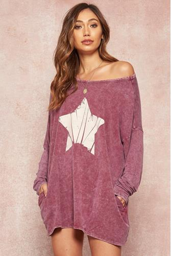 Star Long Sleeve T-Shirt Dress VIOLET