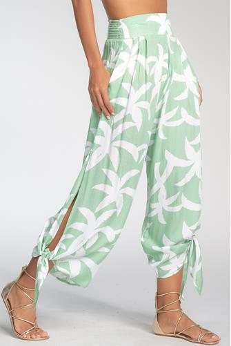 Palm Print Ankle Tie Jogger MINT GREEN
