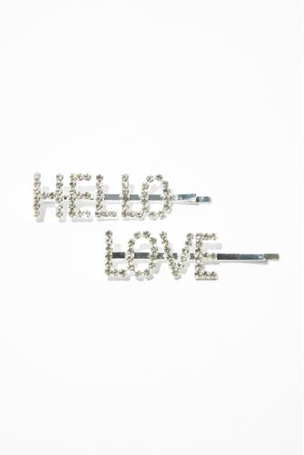 Hello & Love Bedazzled Hair Pin Two Pack SILVER