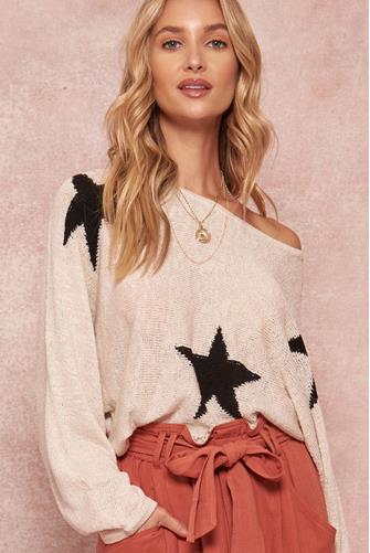 Star Boatneck Pullover CREAM