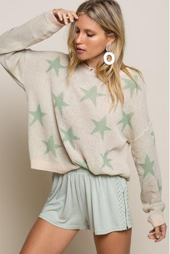 Green Star Boatneck Pullover WHITE