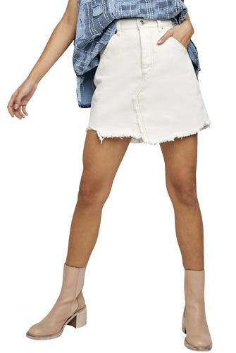 Brea Cut Off Denim Skirt WHITE