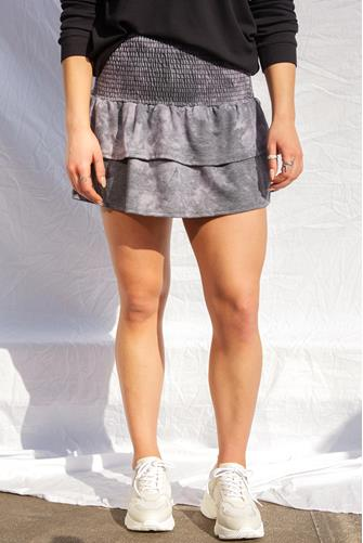 Knit Tie Dye Smocked Ruffle Mini Skirt CHARCOAL
