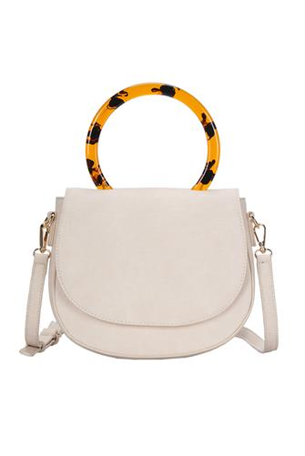Cream Circle Handle Crossbody Bag CREAM