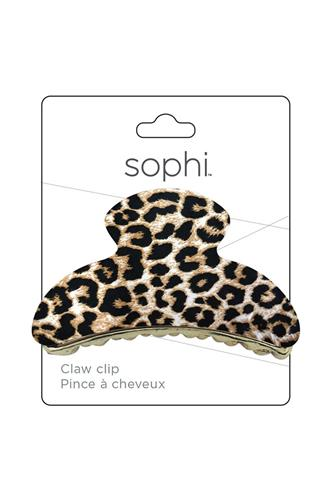 Leopard Half Moon Claw Hair Clip BROWN-MULTI--