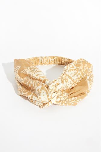 Tan Paisley Twist Headband BEIGE