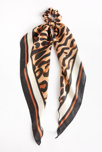 Animal Print Stripe Scarf Scrunchie BLACK-MULTI--