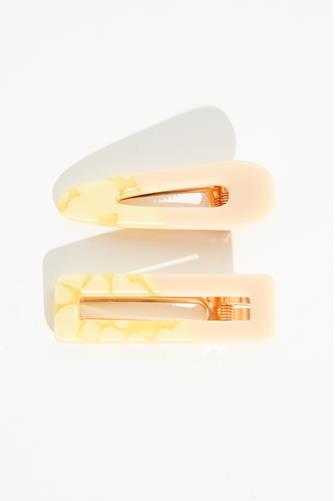 Yellow Marble Hair Clip Two Pack YELLOW