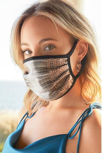 Grey Crocodile Print Face Mask GREY MULTI -