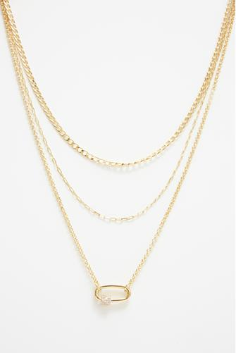 Gold Chain & Crystal Three Layer Necklace GOLD