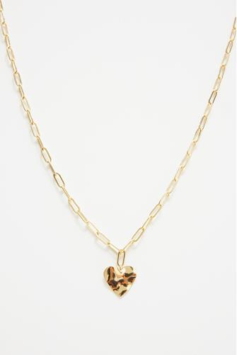Gold Link Heart Pendant Necklace GOLD