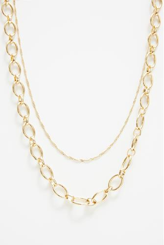Gold Double Layer Link Chain Necklace GOLD