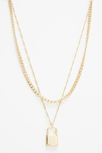 Double Layer Lock Necklace GOLD