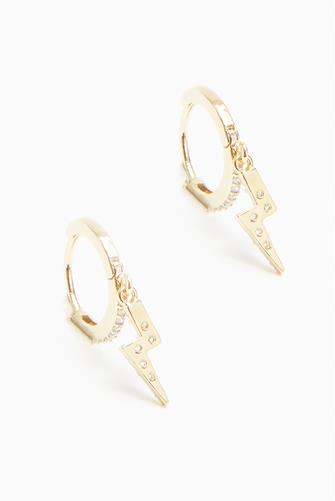 Pave Lightning Bolt Huggie Earrings GOLD