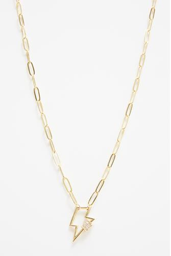 Gold Pave Lightning Bolt Necklace GOLD