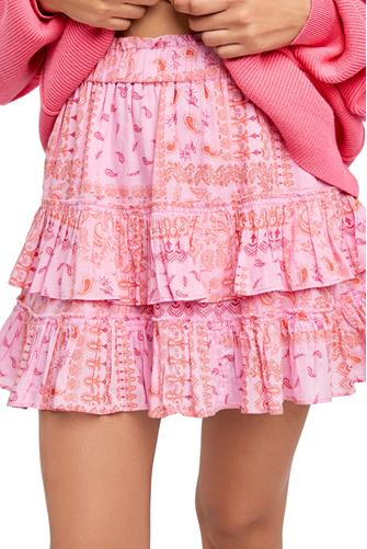 Melissa Printed Ruffle Mini Skirt PINK MULTI -