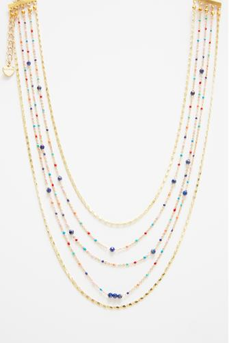 Multi Strand Beaded Chain Necklace GOLD