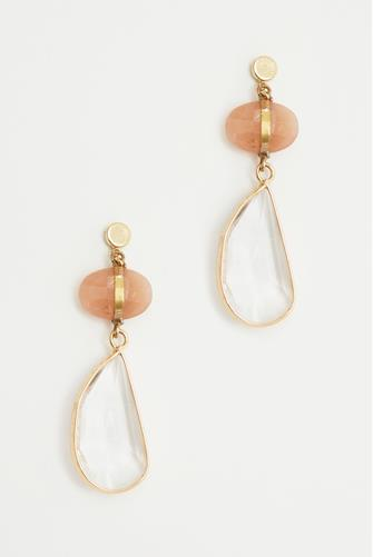 Pink Stone & Gold Drop Earrings PINK