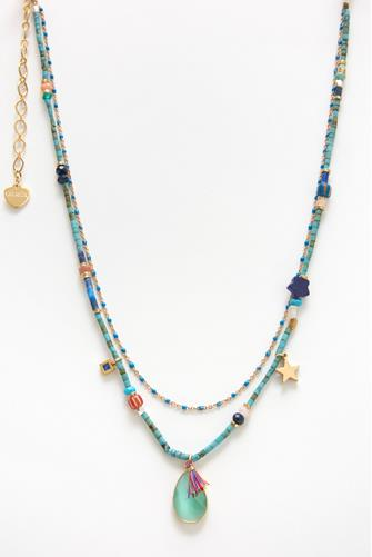 Multi Strand Bead & Charm Necklace BLUE MULTI -