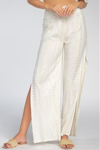 Gold Printed Slit Wide Leg Pant IVORY