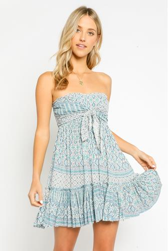 Strapless Tie Front Mini Dress BLUE-MULTI--