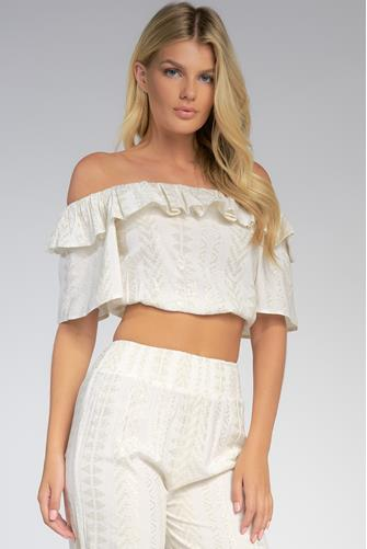 Off Shoulder Ruffle Top WHITE MULTI -