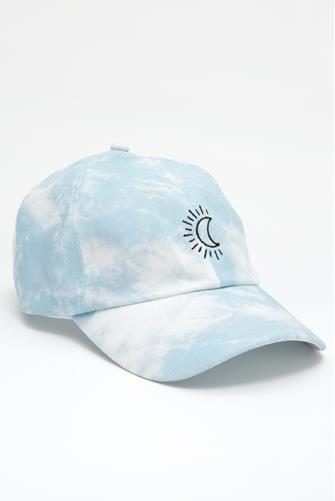 Blue Tie Dye Moon Baseball Hat LITE BLUE