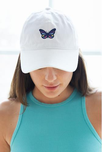 Rainbow Butterfly Embroidered Baseball Hat WHITE