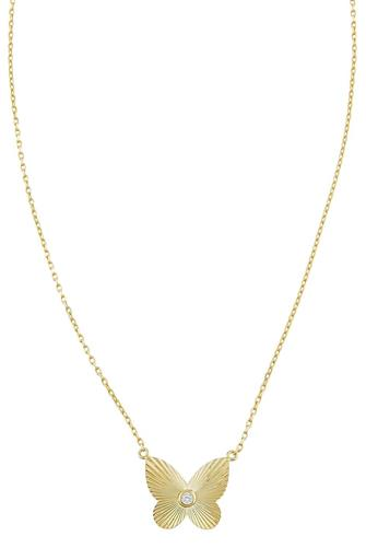 CZ Ridged Butterfly Necklace GOLD
