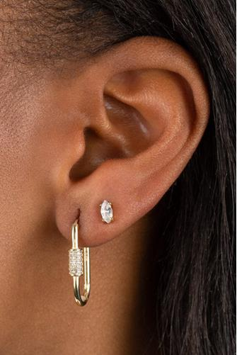 Pave Toggle Huggie Earrings GOLD