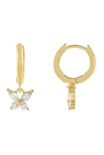 CZ Crystal Butterfly Huggie Earrings GOLD